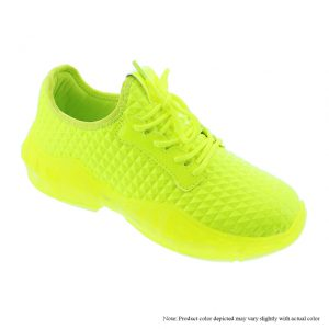 Neon patent Lacr up Sneakers