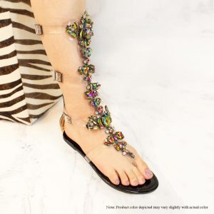Gladiator Flat Sandal With Rhinestones,    Color: Black