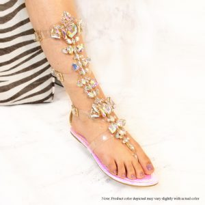 Gladiator Flat Sandal With Rhinestones,    Color: Pink Hologram