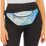 Rainbow Color Embossed Retro Fanny Pack,  Color: Silver