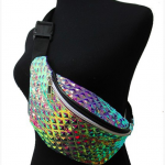 Rainbow Color Embossed Retro Fanny Pack,  Color: Rainbow