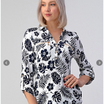 Blouse with Rollable 3/4 Sleeves and Zipper Pocket