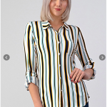 Full Button Down Blouse with Rollable Long Sleeves