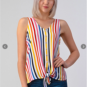 Wool Dobby Multi-Striped Tie Front Top