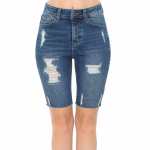HIGH-RISE DESTRUCTED BIKER SHORT