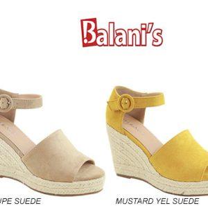 Suede Wedge Sandal W/Strap