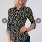 Knit FDY Printed Full Button Down Blouse with Rollable Long Sleeves