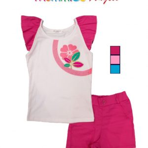 2pc Girls Flower Set Top W/Short