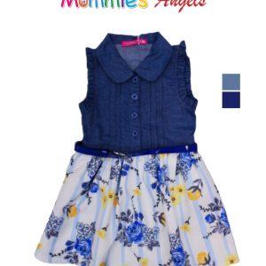 Baby Girl Sleeveless Floral Denim Dress