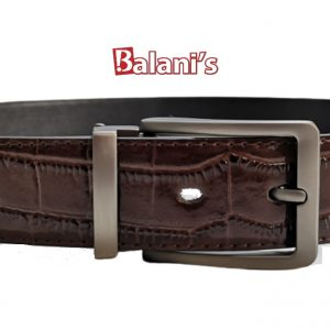 Brown Crusted PU Mens Belt W/H Silver Buckle