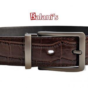 Brown Crusted PU Mens Belt W/H Silver Buckle