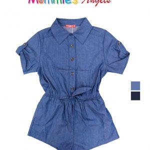 Girls Denim Overall W/ Sleeve