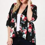 Plus Size Floral Short Sleeve Cardigan