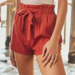 LINEN TIE-FRONT HIGH PAPERBAG WAIST WOVEN PULL-ON SHORTS