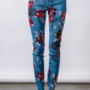 Teal flower printed pant