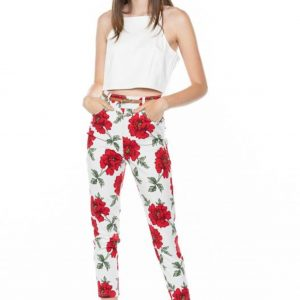 White flower printed pant