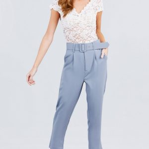 Front Pocket and W/Belt Long Woven Pants