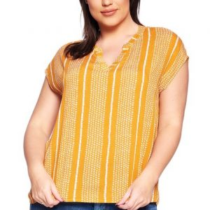 Casual striped split neck short sleeve plus size top