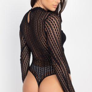 Sheer Mesh Lace Long-sleeve Bodysuit