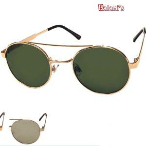 Round Metal Smoke Lens Sunglasses W/Flat Lens