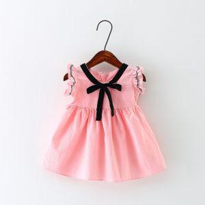 Soft Linen Baby Dress W/Bow Tie