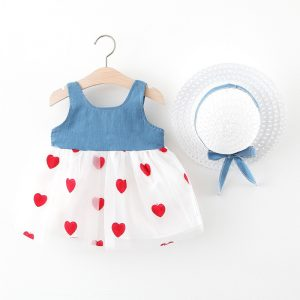 Jeans Dress W/Hearts + Hat