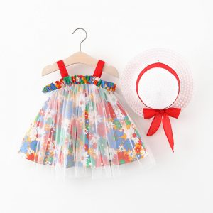 Floral Print Dress W/Hat