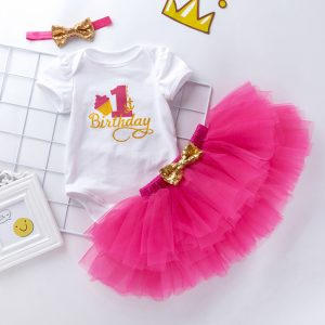 1st Birthday Romper + Skirt + Headband