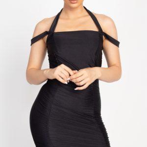 Satin Halter Body-con Dress