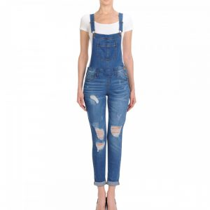 DISTRESSED SKINNY OVERALLS WITH ROLLED CUFFS