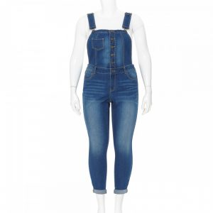 PLUS SIZE EXPOSED BUTTON OVERALLS