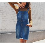 EXPOSED BUTTON-FRONT DENIM DRESS