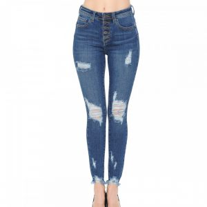 VINTAGE-INSPIRED EXPOSED BUTTON SKINNY
