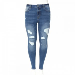 PLUS SIZE HIGH-RISE COTTON-RAYON DESTRUCTED SKINNY