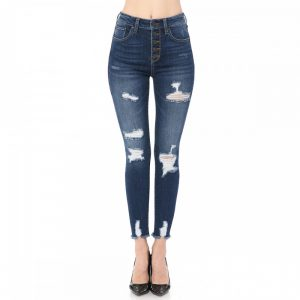 HIGH-RISE SKINNY DESTRUCTED EXPOSED BUTTON DENIM
