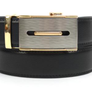 Mens Genuine Leather Sliding Buckle Belt