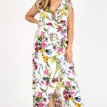Floral Sleeveless Maxi Plus Size Dress W/Surplice Neckline
