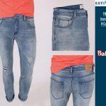 Estivaneli Blue Grey Cut-up Skinny Jeans