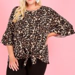 Dark Cheetah Double Tiered Bell Sleeves Blouse