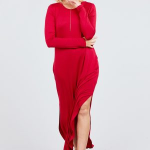 LONG SLEEVE ROUND NECK W/SIDE POCKET RAYON SPANDEX LONG DRESS