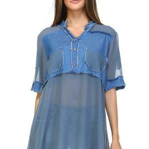 Denim Blue Seam Contrast Tunic