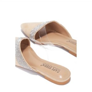 Slip On Pointed Toe Rhinestone and Clear Strap Detail