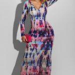 Bulgari Printed Deep V-Neck L/S Pencil Dress
