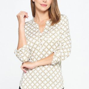 FDY Chain Printed Henley Necked Blouse with Rollable 3/4 Sleeves and a Pocket