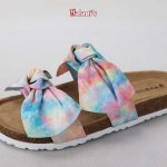 DOUBLE BAND W/ BOWS FOOTBED SANDAL FAUX SUEDE