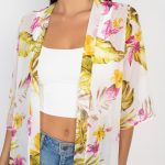Tropical Print Open Front Kimono (Woven)