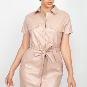 Faux Leather Front Button Mini Dress (Knit)