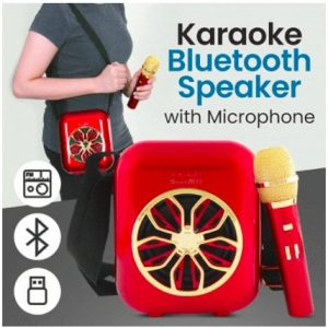 Smart2030 M20 Portable Wireless Karaoke Bluetooth Speaker with Microphone Included Support FM, TF Micro SD & USB Flash