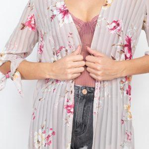 Floral Lacket Open Front Kimono