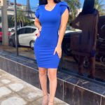Basic office attire midi dress with sleeve detail